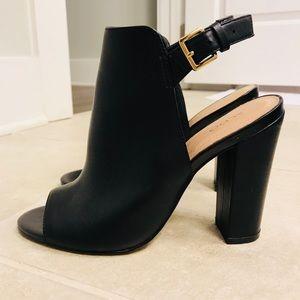 Black open toed booties